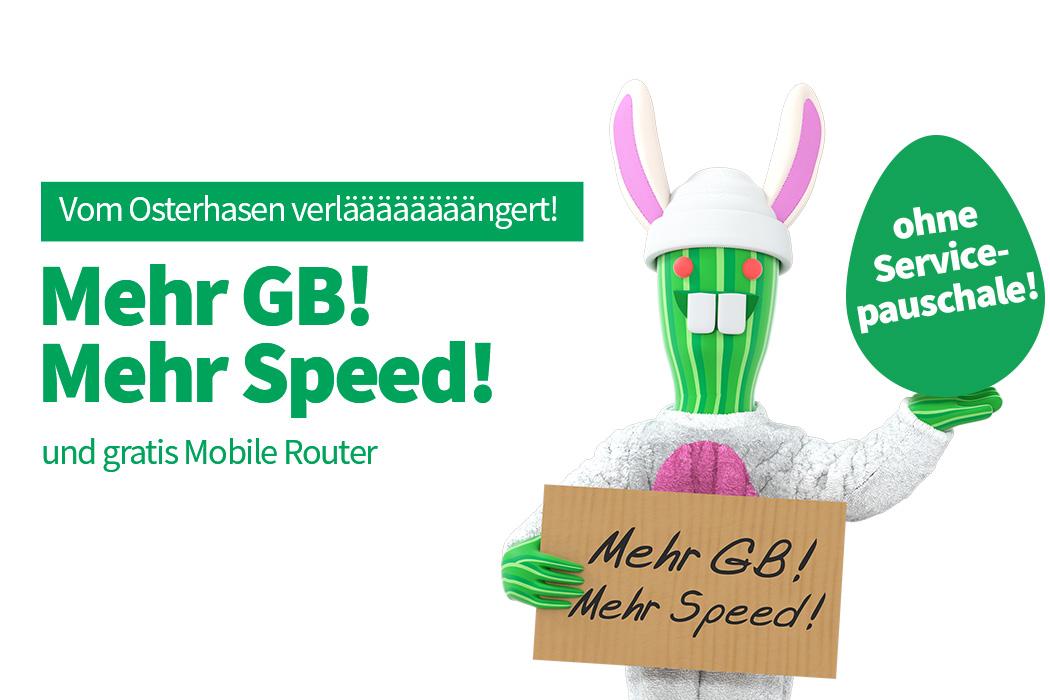 Vom Osterhasen verlääängert: Mehr GB und gratis Router